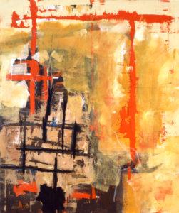 In der Lobby, 120 x 100 cm, Acryl auf Leinwand