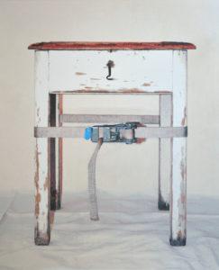 Verspannungen (Stuhl 01), 120 x 100 cm, Acryl auf Leinwand