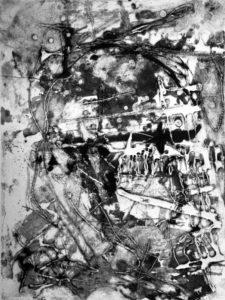 Kopflos, 40 x 29,8 cm, Carborundum