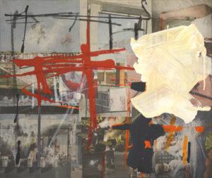 Ohne Titel (#2467), 50 x 60 cm, Collage/Acryl auf Leinwand